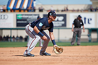 Atlanta Braves third baseman Austin Riley (74) during a Grapefruit League Spring Training game against the Detroit Tigers on March 2, 2019 at Publix Field at Joker Marchant Stadium in Lakeland, Florida.  Tigers defeated the Braves 7-4.  (Mike Janes/Four Seam Images)