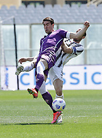 Giorgio Chiellini of Juventus and Dusan Vlahovic of Fiorentina  during the  italian serie a soccer match,Fiorentina - Juventus at  theStadio Franchi in  Florence Italy ,