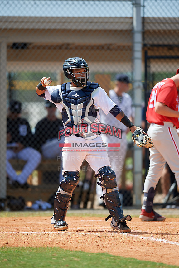 Detroit Tigers catcher Yoandy Rea (32) during an Instructional League game against the Philadelphia Phillies on September 19, 2019 at Tigertown in Lakeland, Florida.  (Mike Janes/Four Seam Images)