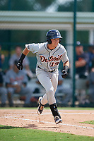 Detroit Tigers second baseman Kody Clemens (19) runs to first base during a Florida Instructional League game against the Pittsburgh Pirates on October 2, 2018 at the Pirate City in Bradenton, Florida.  (Mike Janes/Four Seam Images)