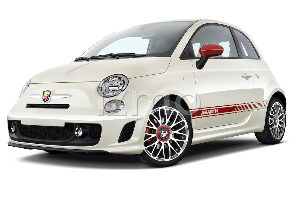 Low aggressive front three quarter view of a 2009 Fiat 500 Abarth 3 door hatchback.