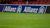 20121216 Copyright onEdition 2012©.Free for editorial use image, please credit: onEdition..Allianz branding on the perimeter signage during the Heineken Cup Round 4 match between Saracens and Munster Rugby at Vicarage Road on Sunday 16th December 2012 (Photo by Rob Munro)..For press contacts contact: Sam Feasey at brandRapport on M: +44 (0)7717 757114 E: SFeasey@brand-rapport.com..If you require a higher resolution image or you have any other onEdition photographic enquiries, please contact onEdition on 0845 900 2 900 or email info@onEdition.com.This image is copyright onEdition 2012©..This image has been supplied by onEdition and must be credited onEdition. The author is asserting his full Moral rights in relation to the publication of this image. Rights for onward transmission of any image or file is not granted or implied. Changing or deleting Copyright information is illegal as specified in the Copyright, Design and Patents Act 1988. If you are in any way unsure of your right to publish this image please contact onEdition on 0845 900 2 900 or email info@onEdition.com
