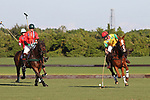 WELLINGTON, FL - NOVEMBER 25:  Gustavo Toledo of Team Brazil (yellow) controls the ball, as Julio Arellano of Team USA (Red) looks on,  as Team USA defeats Team Brazil, 9 - 7 in the USPA International Cup final, at the Grand Champions Polo Club, on November 25, 2017 in Wellington, Florida. (Photo by Liz Lamont/Eclipse Sportswire/Getty Images)