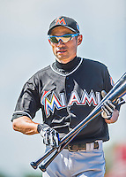 7 March 2016: Miami Marlins outfielder Ichiro Suzuki returns to the dugout from the batting cage prior to a Spring Training pre-season game against the Washington Nationals at Space Coast Stadium in Viera, Florida. The Nationals defeated the Marlins 7-4 in Grapefruit League play. Mandatory Credit: Ed Wolfstein Photo *** RAW (NEF) Image File Available ***