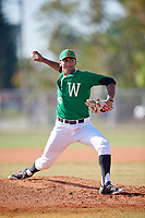 Wooster Fighting Scots starting pitcher Nanak Saran (26) delivers a pitch during a game against the Haverford Fords on March 17, 2018 at Terry Park in Fort Myers, Florida.  Haverford defeated Wooster 1-0. (Mike Janes/Four Seam Images)