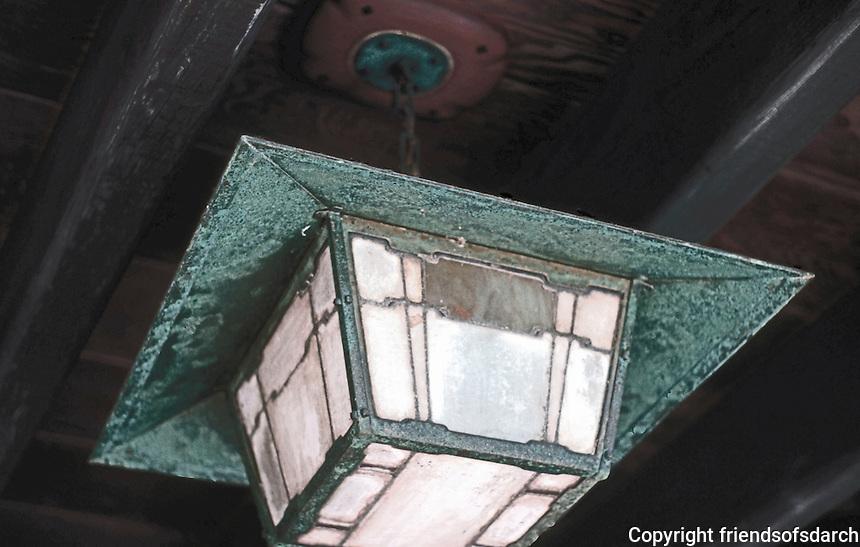 Greene & Greene: Gamble House, porch lamp.  Photo '85.