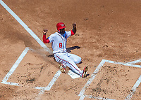9 July 2017: Washington Nationals outfielder Brian Goodwin slides home safely to score in the first inning against the Atlanta Braves at Nationals Park in Washington, DC. The Nationals defeated the Atlanta Braves to split their 4-game series going into the All-Star break. Mandatory Credit: Ed Wolfstein Photo *** RAW (NEF) Image File Available ***