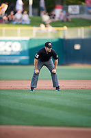 First base umpire Jason Starkovich during the game between the Salt Lake Bees and the New Orleans Baby Cakes at Smith's Ballpark on June 8, 2018 in Salt Lake City, Utah. Salt Lake defeated New Orleans 4-0.  (Stephen Smith/Four Seam Images)
