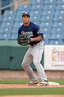 Desmond Lindsay (3) of Out-of-Door Academy in Bradenton, Florida playing for the Tampa Bay Rays scout team during the East Coast Pro Showcase on July 30, 2014 at NBT Bank Stadium in Syracuse, New York.  (Mike Janes/Four Seam Images)