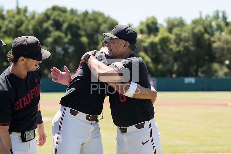 STANFORD, CA - MAY 29: Christian Robinson, David Esquer before a game between Oregon State University and Stanford Baseball at Sunken Diamond on May 29, 2021 in Stanford, California.