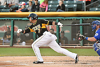 Luis Jimenez (7) of the Salt Lake Bees at bat against the Las Vegas 51s at Smith's Ballpark on May 8, 2014 in Salt Lake City, Utah.  (Stephen Smith/Four Seam Images)