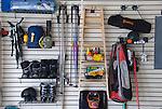 Residential garage interior, recreation equipment