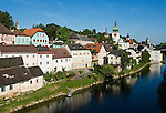 Austria, Lower Austria, Waidhofen at river Ybbs: with City Tower, Ybbs Tower, Town Parish Church and Donjon of Rothschild Castle