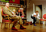 Black Comedy by Peter Shaffer, directed by Gregory Doran. With Gary Waldhorn as Coolnel Melkett, Nicola McAuliffe as Miss Furnival, Desmond Barrit as Harold Gorringe, Anna Chancellor as Carol Melkett, David Tennant as Brindsley. Opened at The Comedy Theatre 22/4/98. CREDIT Geraint Lewis