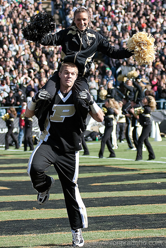 Purdue cheerleaders. The Wisconsin Badgers defeated the Purdue Boilermakers 34-13 at Ross-Ade Stadium, West Lafayette, Indiana on November 6, 2010.
