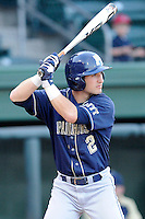 Shortstop Dylan Wolsonovich (2) of the University of Pittsburgh Panthers bats in a game against the Presbyterian Blue Hose on Tuesday, March 11, 2014, at Fluor Field at the West End in Greenville, South Carolina. Pitt won, 12-3. (Tom Priddy/Four Seam Images)