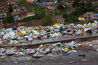 Peru, Cusco.  Garbage Along the Streets of Neighborhoods on the Hills above Cusco.
