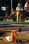 MAKING A CALL ON MOBILE PHONE AT WIMBLEDON. 29/6/93.,