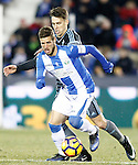CD Leganes' Ruben Perez (f) and Celta de Vigo's Josep Sene during La Liga match. January 28,2017. (ALTERPHOTOS/Acero)
