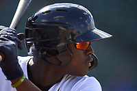 Detroit Tigers Daz Cameron (41), while on a rehab assignment with the Lakeland Flying Tigers, warms up on deck during a game against the Tampa Tarpons on May 16, 2021 at Joker Marchant Stadium in Lakeland, Florida.  (Mike Janes/Four Seam Images)