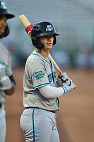 Daytona Tortugas Austin Hendrick (1) on deck during a game against the Palm Beach Cardinals on May 4, 2021 at Roger Dean Stadium in Jupiter, Florida.  (Mike Janes/Four Seam Images)