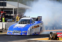 Aug. 18, 2013; Brainerd, MN, USA: NHRA funny car driver Jack Beckman during the Lucas Oil Nationals at Brainerd International Raceway. Mandatory Credit: Mark J. Rebilas-