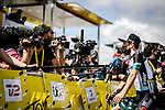 Simon Yates (GBR) Team BikeExchange talks to the media at sign on before the start of Stage 4 of the 2021 Tour de France, running 150.4km from Redon to Fougeres, France. 29th June 2021.  <br /> Picture: A.S.O./Pauline Ballet   Cyclefile<br /> <br /> All photos usage must carry mandatory copyright credit (© Cyclefile   A.S.O./Pauline Ballet)