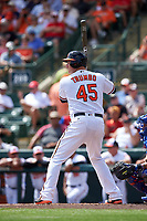 Baltimore Orioles designated hitter Mark Trumbo (45) at bat during a Spring Training exhibition game against the Dominican Republic on March 7, 2017 at Ed Smith Stadium in Sarasota, Florida.  Baltimore defeated the Dominican Republic 5-4.  (Mike Janes/Four Seam Images)