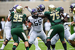 TCU Horned Frogs center Joey Hunt (55), Baylor Bears defensive lineman Beau Blackshear (95) and Baylor Bears defensive tackle Andrew Billings (75) in action during the game between the TCU Horned Frogs and the Baylor Bears at the McLane Stadium in Waco, Texas. TCU leads Baylor 31 to 27 at halftime.