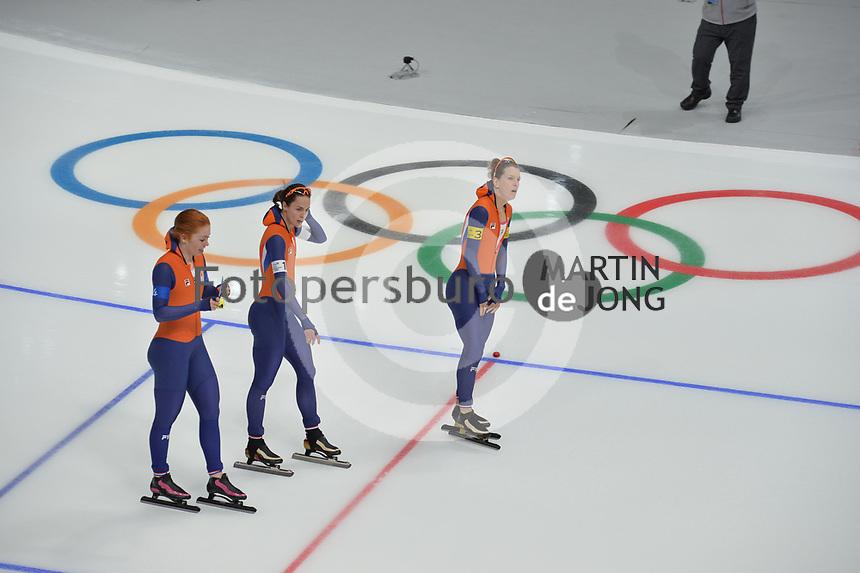 OLYMPIC GAMES: PYEONGCHANG: 19-02-2018, Gangneung Oval, Long Track, Team Pursuit Ladies, Team Netherlands, Antoinette de Jong, Marrit Leenstra, Ireen Wüst, ©photo Martin de Jong
