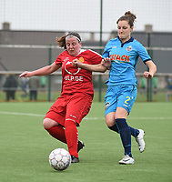 20180414 - DIKSMUIDE , BELGIUM : Diksmuide Merkem's Lisa Coppein (R)  and Kontich's Lucinda Michez (L) pictured during a soccer match between the women teams of Famkes Westhoek Diksmuide Merkem and KFC Kontch  , during the 22th matchday in the 2017-2018  Eerste klasse - First Division season, Saturday 14 April 2018 . PHOTO SPORTPIX.BE | DIRK VUYLSTEKE