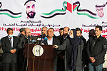 Palestinian leader in the Fatah movement, Sufian Abu Zaida, speaks during a press conference during the arrival of a truck loaded with Russian-made Sputnik V doses from the United Arab Emirates, in the Gaza Strip via the Rafah crossing with Egypt, on February 21, 2021. Around 20,000 coronavirus vaccine doses from the UAE arrived in Gaza today, a delivery reportedly orchestrated by a rival of Palestinian president Mahmud Abbas three months before scheduled Palestinian elections. Photo by Ashraf Amra