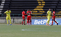 ITAGÜI - COLOMBIA, 17-04-2021: Itagüi Leones F. C. y Cortulua durante partido de la fecha 1 de los cuadrangulares semifinales por el Torneo BetPlay DIMAYOR 2021 en el estadio Metropolitano de Itagüi en la ciudad de Itagüi. / Itagüi Leones F. C. and Cortulua during a match of the 1st date of the quadrangular semifinals for the BetPlay DIMAYOR 2021 Tournament at the Metropolitano de Itagüi stadium in Itagüi city. / Photo: VizzorImage / Juan A. Cardona / Cont.