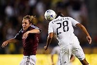LA Galaxy defender Sean Franklin heads a ball past Rapid's Tom McManus. LA Galaxy defeated the Colorado Rapids 3-2 at Home Depot Center stadium in Carson, California on Sunday October 12, 2008. Photo by Michael Janosz/isiphotos.com