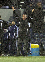 Pictured: Brendan Rodgers manager for Swansea thanking supporters after the end of the game. Saturday, 04 February 2012<br /> Re: Premier League football, West Bromwich Albion v Swansea City FC v at the Hawthorns Stadium, Birmingham, West Midlands.
