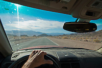 Driver's eye view of the west side of Jubilee Pass, Death Valley National Park, California