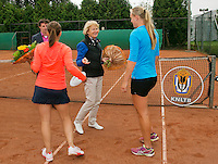 August 17, 2014, Netherlands, Raalte, TV Ramele, Tennis, National Championships, NRTK, Womans Final :  Nicole Thijssen/Mandy Wagemakers (R)(NED)  at the prize giving with Marja Bongers<br /> Photo: Tennisimages/Henk Koster
