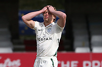 Frustration for Charlie Morris of Worcestershire during Essex CCC vs Worcestershire CCC, LV Insurance County Championship Group 1 Cricket at The Cloudfm County Ground on 9th April 2021