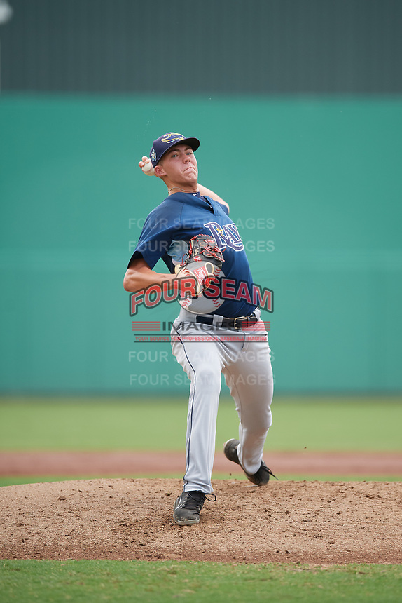 GCL Rays starting pitcher Matthew Liberatore (32) delivers a pitch during a game against the GCL Red Sox on August 1, 2018 at JetBlue Park in Fort Myers, Florida.  GCL Red Sox defeated GCL Rays 5-1 in a rain shortened game.  (Mike Janes/Four Seam Images)
