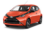 2015 Toyota AYGO X-CITE 2WD MT 5 Door Micro Car 2WD Angular Front stock photos of front three quarter view