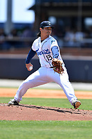 Asheville Tourists pitcher Daniel Procopio (13) delivers a pitch during a game against the Greenville Drive on May 23, 2021 at McCormick Field in Asheville, NC. (Tony Farlow/Four Seam Images)