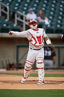 Birmingham Barons catcher Yermin Mercedes (6) throws down to first base during a Southern League game against the Chattanooga Lookouts on May 1, 2019 at Regions Field in Birmingham, Alabama.  Chattanooga defeated Birmingham 5-0.  (Mike Janes/Four Seam Images)