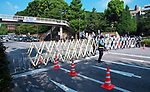 Tokyo Metropolitan Police officer stand guard around the Nippon Budokan and Yasukuni Shrine in Tokyo, Japan on August 15, 2020. (Photo by AFLO)