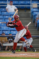 Altoona Curve first baseman Edwin Espinal (14) at bat during a game against the Binghamton Rumble Ponies on May 17, 2017 at NYSEG Stadium in Binghamton, New York.  Altoona defeated Binghamton 8-6.  (Mike Janes/Four Seam Images)