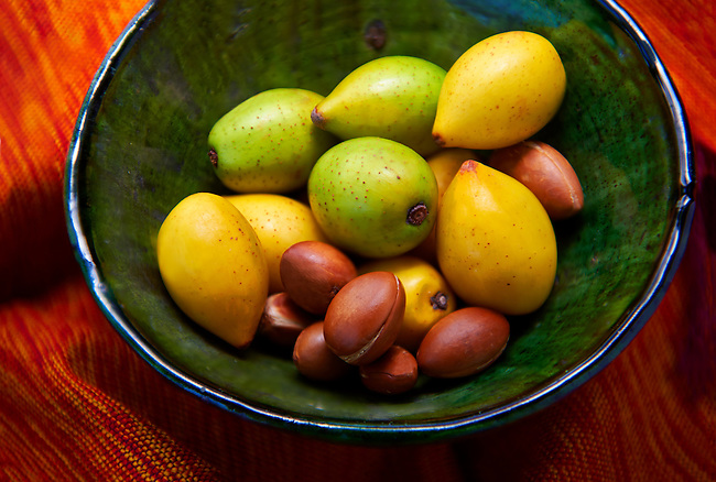 Fresh Argan nuts with outer skins and Argan nuts in their shells.