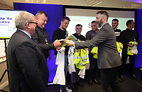 Pictured: Michael Sheen (R) presents high visibility jackets Thursday 06 April 2017<br /> Re: Swansea City AFC Community Trust Celebration Event at the Liberty Stadium, Swansea, Wales, UK.