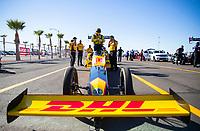 Oct 31, 2020; Las Vegas, Nevada, USA; NHRA top fuel driver Shawn Langdon during qualifying for the NHRA Finals at The Strip at Las Vegas Motor Speedway. Mandatory Credit: Mark J. Rebilas-USA TODAY Sports