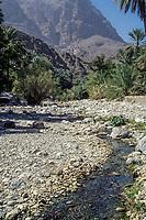 Wadi Bani Kharus, Oman.  Water Flowing in the Wadi.