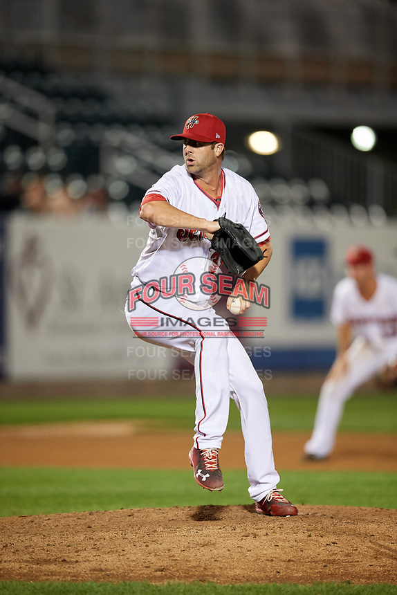 Harrisburg Senators relief pitcher Bryan Harper (39) delivers a pitch during a game against the Erie SeaWolves on August 29, 2018 at FNB Field in Harrisburg, Pennsylvania.  Harrisburg defeated Erie 5-4.  (Mike Janes/Four Seam Images)