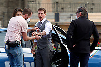Actor Tom Cruise being handcuffed together on the set of the film Mission Impossible 7 at Imperial Fora in Rome. <br /> Rome (Italy), October 13th 2020<br /> Photo Samantha Zucchi Insidefoto